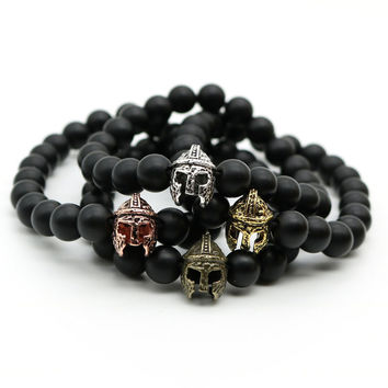 Antique Gold Plated Roman Warrior Helmet Bracelet Men Black Matte Onyx Agate Stone Bead Bracelets For Men Jewelry MN-4