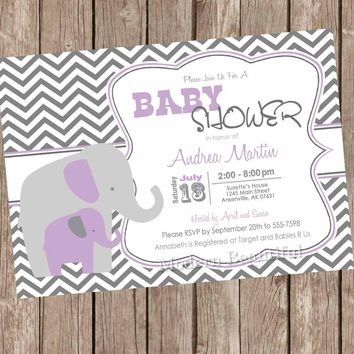 Purple and Gray Girl Elephant baby shower invitation, purple, grey, elephant, chevron, printable invitation