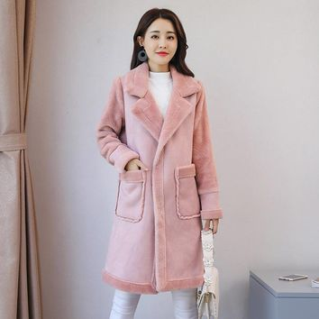 Suede Parkas Mujer Invierno 2017 Fashion Korean Winter Woman Coats Warm Lamb Wool Long Outwear Winter Woman Pink Plus Size S-2XL