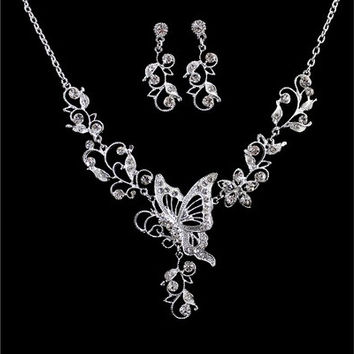 Wedding Jewelry Graceful Silver Color Alloy White Rhinestone Butterfly Leaf Pendant Necklace and Dangle Earrings Sets (Color: White) [7981650631]