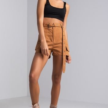 AKIRA High Waisted Belted Cargo Shorts in Black, Camel