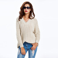 V Neck Raglan Sleeve Cable Knitted Ribbed Khaki Sweater