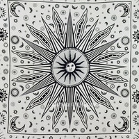 Black and White Sun Moon  Planets Tapestry Wall Hanging, Indian Fringed Bedding on RoyalFurnish.com