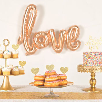 Love Balloon- Script Balloon- Bridal Shower Decorations- Dessert Table Decor- Rose Gold Balloon- Wedding Balloon-Bridal Shower Photo Booth