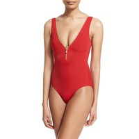 Women Red Bodysuit Swimwear Sexy High Cut Monokini Swimsuit