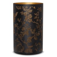 Threshold™ Pierced Botanical Hurricane Candle Holder Black 9""