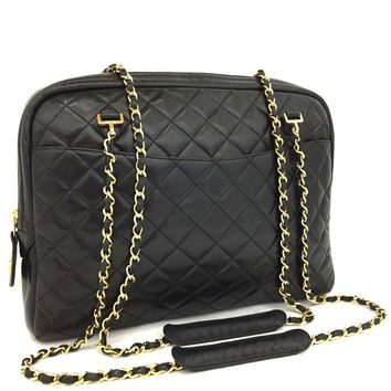 CHANEL Quilted Matelasse Lambskin CC Logo Chain Shoulder Tote Bag Black /j82