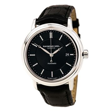 Raymond Weil 2847-STC-20001 Men's Maestro Black Dial Black Leather Strap Swiss Automatic Watch