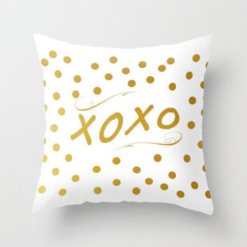 XOXO Pillow Cover Gold  White Polka Dots Typography Pillow Case  Saying Phrase Quote Words  Throw Pillow Cushion 16x16 18x18 20x20