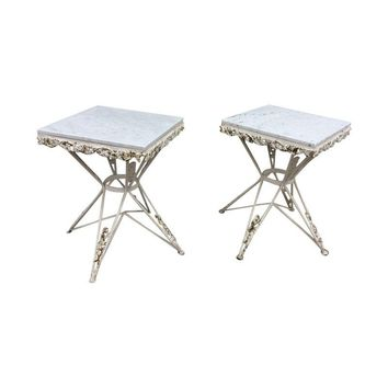 Pre-owned 1940s Iron Marble Top Side Tables