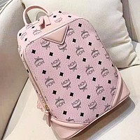 MCM High Quality Fashion New More Letter Print Leisure Backpack Bag Women Pink