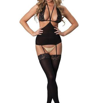 DCCKLP2 Opaque cut out suspender bodystocking with lace halter bodice in BLACK