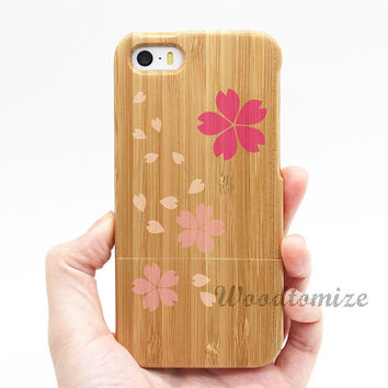 Real wood case, Cherry Flower Sakura floral, iPhone 5C case, iPhone 5S 5 case, Wood cover, Bamboo, FREE screen protector