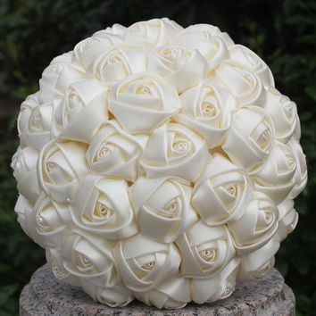 US Free Shipping Cheap Cream Ivory Silk Bridal Bouquets Different Size for Flower Girl Bridesmaid Bride Satin Holding Flowers