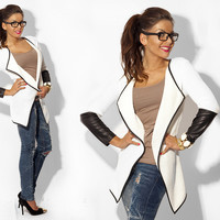 White and Black Long Sleeve Cardigan