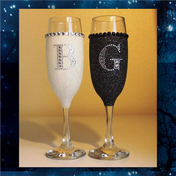 Rhinestone Initials glitter toasting glasses * wedding champagne glasses * bride * bridesmaids * bridal party * custom toasting glasses