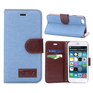 Unique Sky Blue Denim Leather Card Hold Wallet creative cases Cover for iPhone 5S 6 6S Plus Samsung Galaxy S6 Hight Quality