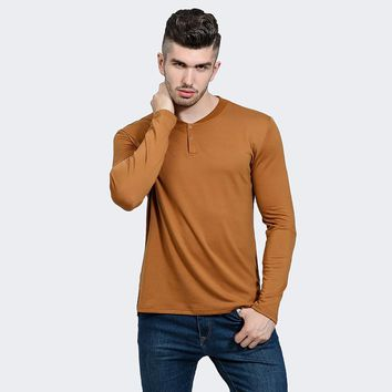 Mens Long Sleeve Plain T-shirt 2017 Autumn Fashion Men's Button Placket Front Henley Shirts Slim Fit Cotton Men Basic T-Shirt