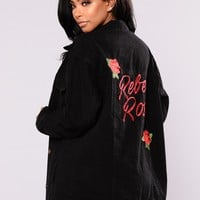 Rebel Rose Denim Jacket - Black