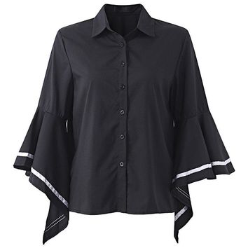 Brief Women Flare Sleeve Black White Contrast Striped Lapel Blouse