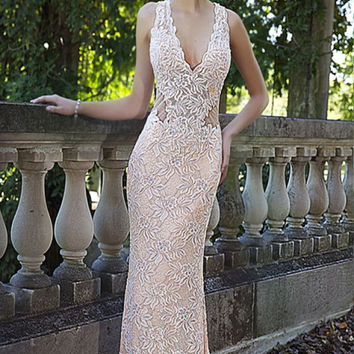 Blush Sleeveless Fitted Prom Dress 93141