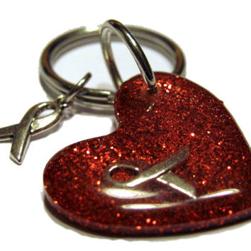 Red Awareness Ribbon Resin Keychain Charms Beaded Keychain Glitter Keychain