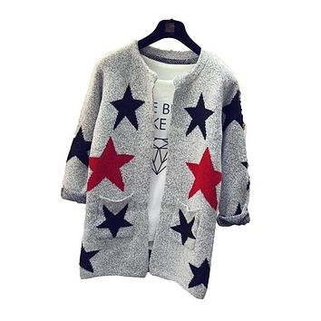 New Arrivals Fashion Star Pattern Cardigans Female Sweaters Long Sleeve Knitted Slim Women Sweater Cardigan