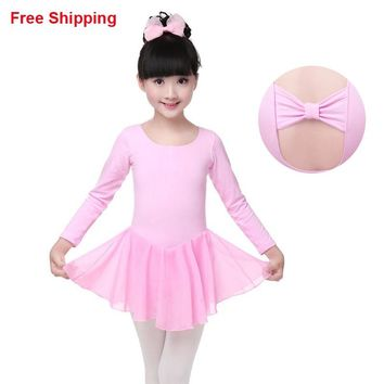 New Chiffon Cotton Children Kids Gymnastic Leotards Cotton Butterfly Tie Kid Ballet Girls Tutu Dress Flexible Tutu Dress
