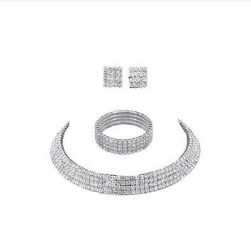 """SUSENSTONE"" Crystal Jewelry 3pc Set (Silver)"