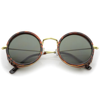 Retro Steampunk Sidecar Round Side Cover Sunglasses A766
