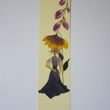 """Handmade unique bookmark """"In contact with nature"""" - Decorated with dried pressed flowers and herbs - Original art collage."""