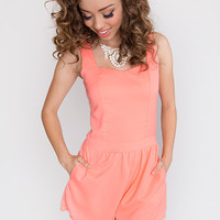 Cross The Line Playsuit - Bright Coral