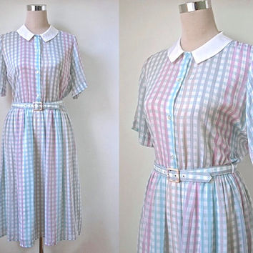 White Collar Vintage Dress - Pastel Pink & Blue Midi Dress - Peter Pan Collar Shirt Dress - Preppy Day Dress - 1980's St Michael - Exc Cond