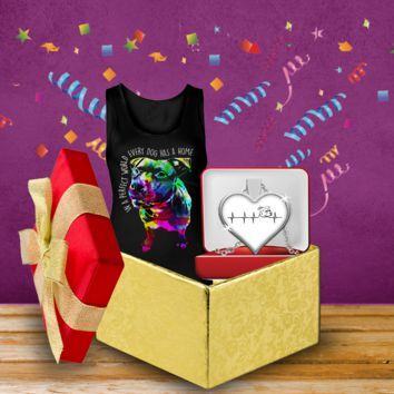 Pit Bull Tank And Heartbeat Necklace Bundle