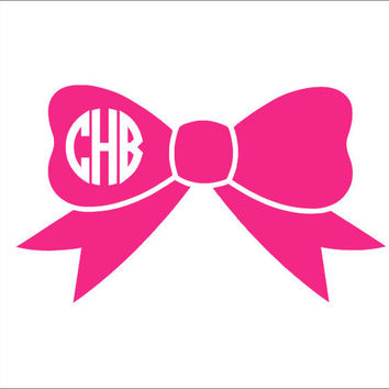 Bow Monogram Decal Bow Car Decal Bow Monogram Vinyl Decal Personalized Car Decal Car Window Decal Car Monogram