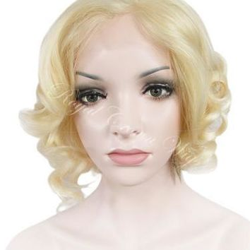 10 inch Synthetic Wig Big Curl Bob Lace Front in Platinum Blonde