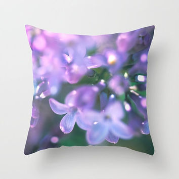 Lilacs Pillow Cover - fine art cushion, purple green pink home decor, garden art photography, nature, botanical, flower, Spring decor, fairy