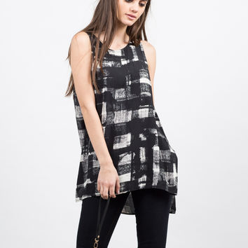 Painted Grid Sleeveless Top