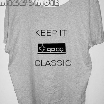 CLASSIC GAMER Tshirt, Off The Shoulder, Over sized, street style ,  loose fitting, graphic tee, screen printed by hand, women's, teens.