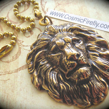 Lion Fan Pull Steampunk Ceiling Fan Pull Chain Antiqued Brass Metal Victorian Animal Fan Pull Brass Lion Head