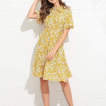Tie Neck Calico Print Dress