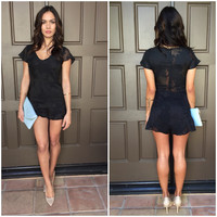 For Love & Lemons Pina Colada Romper in Black