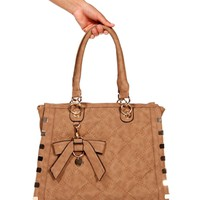 Beige Quilted Square Bag