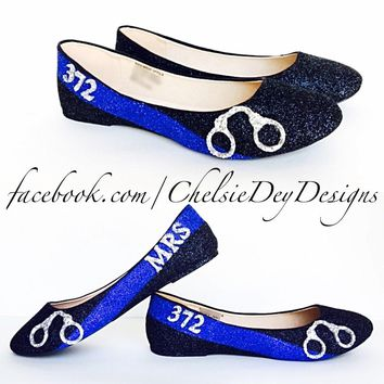 Police Glitter Flats, Thin Blue Line Ballet Shoes