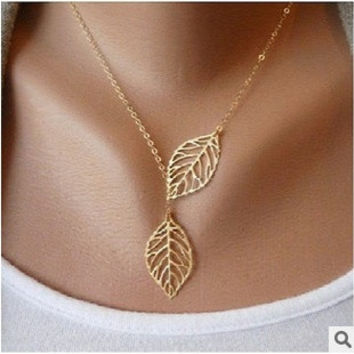 Simple European Fashion Vintage Punk Hollow Two Leaves Pendant Necklace Clavicle Chain for Women = 1669320836
