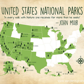 National Parks Map, Custom Colors, United States Map with all National Parks, Kids Room, Gift for Campers, Hikers, Adventurous | WF292