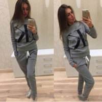 """Calvin Klein"" CK fashion print sweater long sleeve set gray"