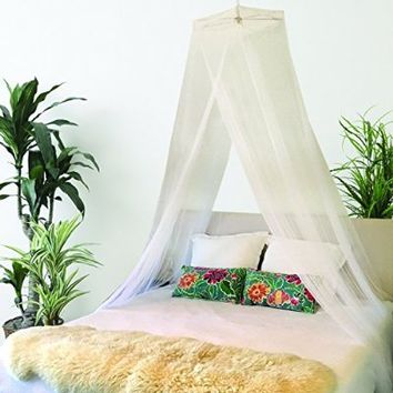 BOHO AND BEACH Quality Mosquito Net Bed Canopy - Queen Size + Bonus Hanging Paper Pom Pom Decorations - Natural Insect Repellent Bed Net