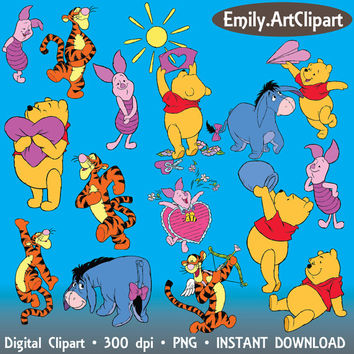 Winnie The Pooh Tigger Eeyore Piglet Burro Bear Clipart Disney Cartoon Character 32 PNG Digital Graphic Image Invitations Printable 300 dpi