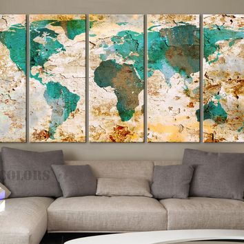 "XLARGE 30""x 70"" 5 Panels 30""x14"" Ea Art Canvas Print World Map Original Watercolor texture Old Wall design Home  decor"